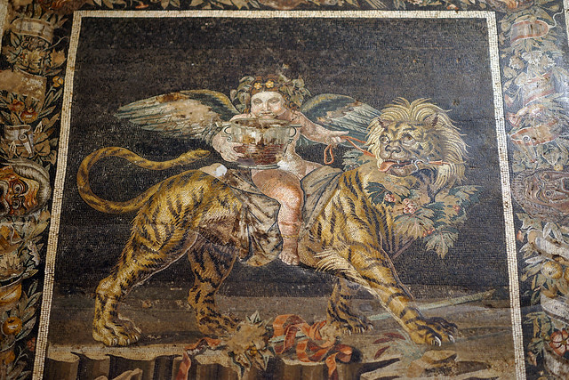 Italy 2019, Naples Napoli, Naples National Archaeological Museum, amazing mosaic from Pompeii