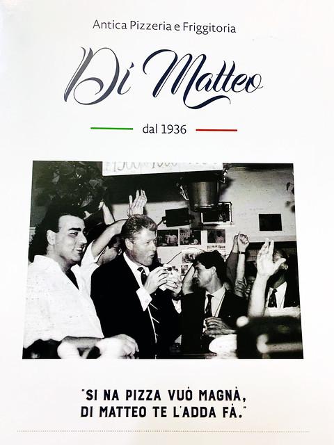 Italy 2019, Naples Napoli, pizzeria Di Matteo menu cover with President Clinton