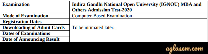 IGNOU MBA 2020 Schedule Revised