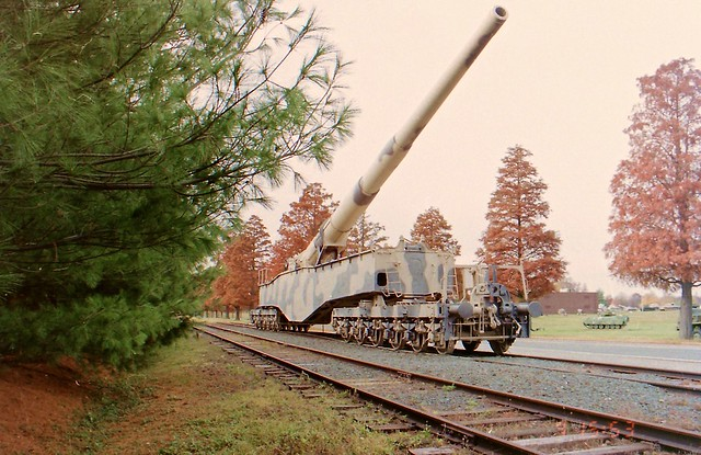 Anzio Annie Krupp K5 Heavy Railway Gun this was taken when  she was at Aberdeen Proving Grounds . Now she's on display at Ft Lee,VA.