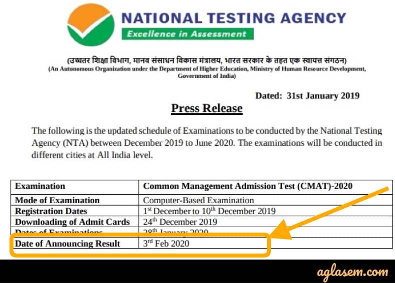 CMAT 2020 Result Date