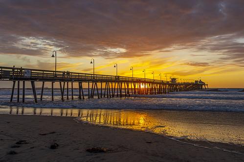 imperialbeach california sandiego pier sunset clouds sun sky weather ocean reflection