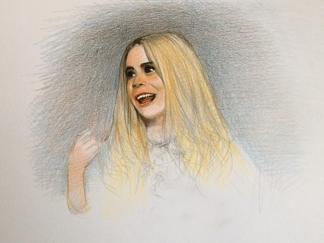 Paloma Faith. Portrait. Coloured pencil drawing on white card by jmsw.