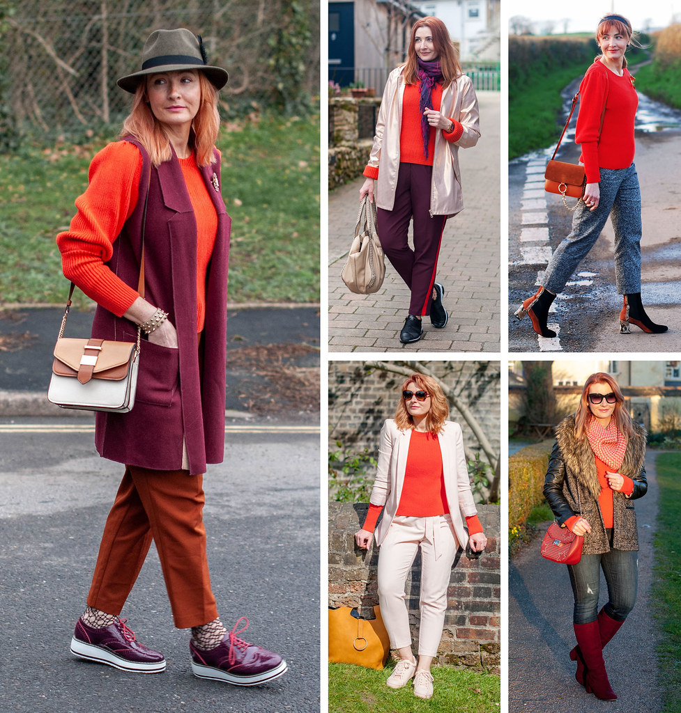 5 Ways To Wear a Tomato Red Sweater ? Not Dressed As Lamb, Over 40 Fashion & Style