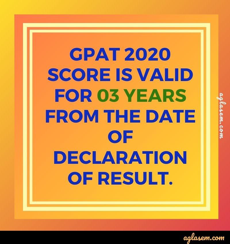 GPAT 2020 score validity