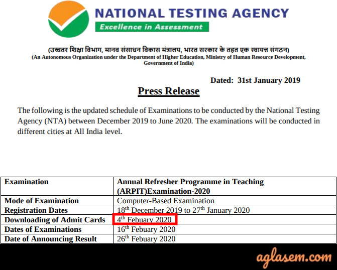 ARPIT 2020 Admit Card / Hall Ticket: Released by NTA, Download here (ntaarpit.nic.in)
