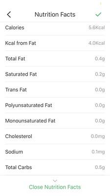 screenshot VeSync bij Etekcity ESN00 Nutrition voedingswaarden weegschaal