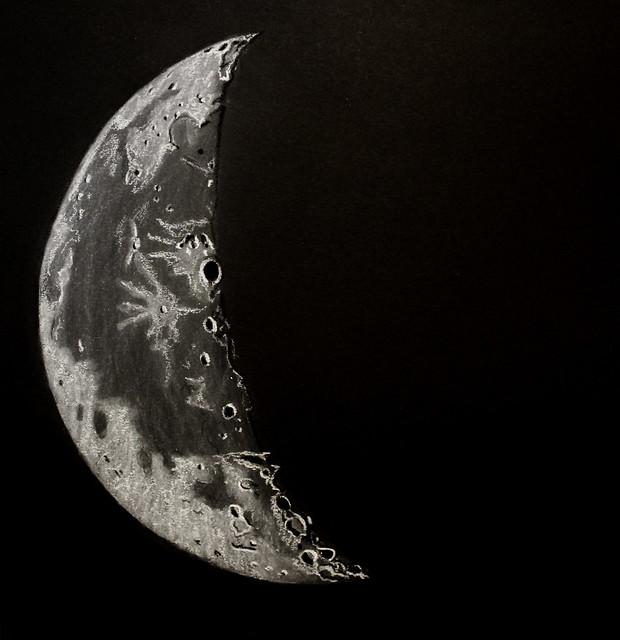 30% Waning Crescent Moon Sketch