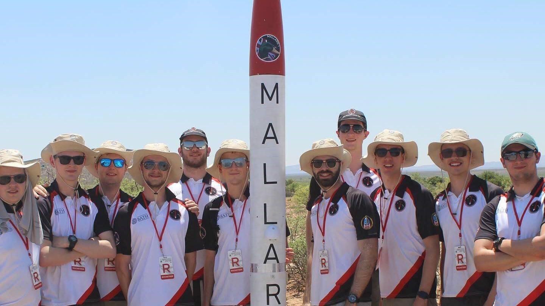 Bath University Rocket Team posed with Mallard 1 rocket