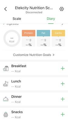 screenshot VeSync bij Etekcity ESN00 Nutrition voedingswaarden weegschaal dagboek