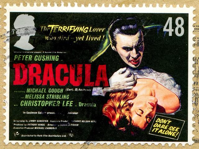 great stamp Great Britain 48p movie poster, Filmplakat (Dracula by Bram Stoker, 1958, Christopher Lee) timbre UK United Kingdom stamps England selo sello stamps GB stamp Great Britain GB England UK แสตมป์ บริเตนใหญ่ pulları İngiltere frimärken Storbritann