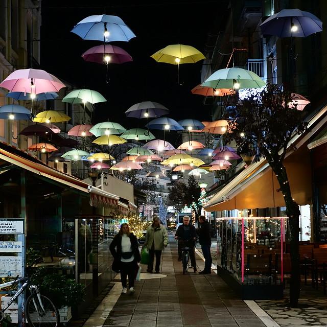 Colorful alley at Karditsa, Greece