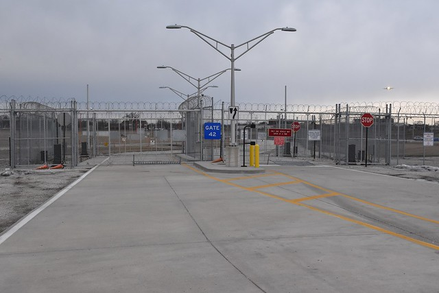 O'Hare International Airport, back service gate...not a penitentiary...