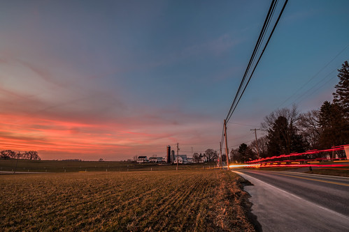 hdr nikon nikond5300 outdoor pennsylvania saudersburg strasburg barn clouds evening farm field geotagged house light lightstream lighttrails lights longexposure outside road rural sky street sunset tree trees utilitypole