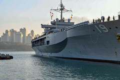USS Blue Ridge (LCC 19) approaches the pier in Busan, Feb. 5. (U.S. Navy)