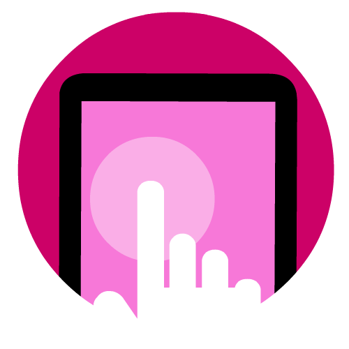 Graphic of a finger pointing at a touchscreen