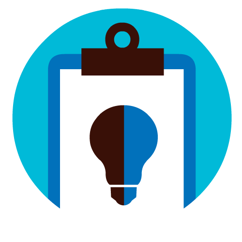 Graphic of clipboard and lightbulb