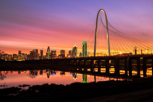 dallas texas tx skyline trinityriver sunrise bridge buildings architecture