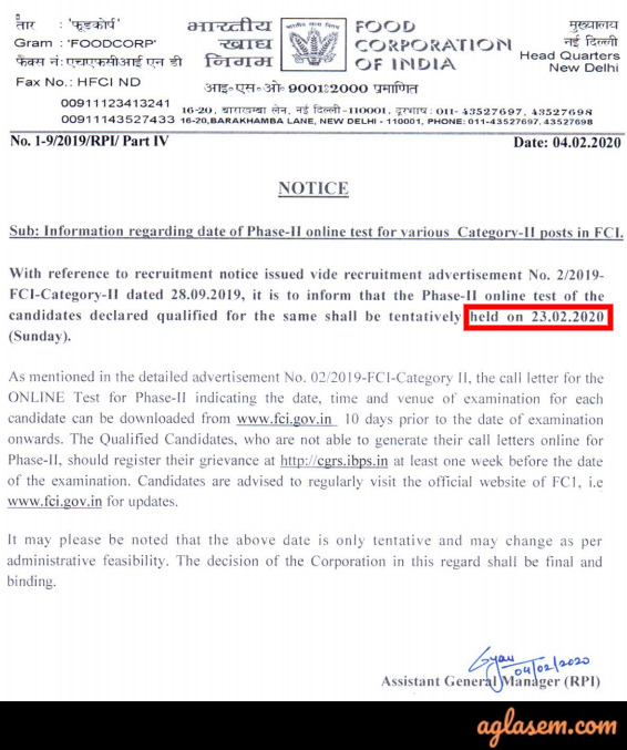 FCI Manager Admit Card 2020 Phase 2 Released; Download For 23 Feb Exam Date