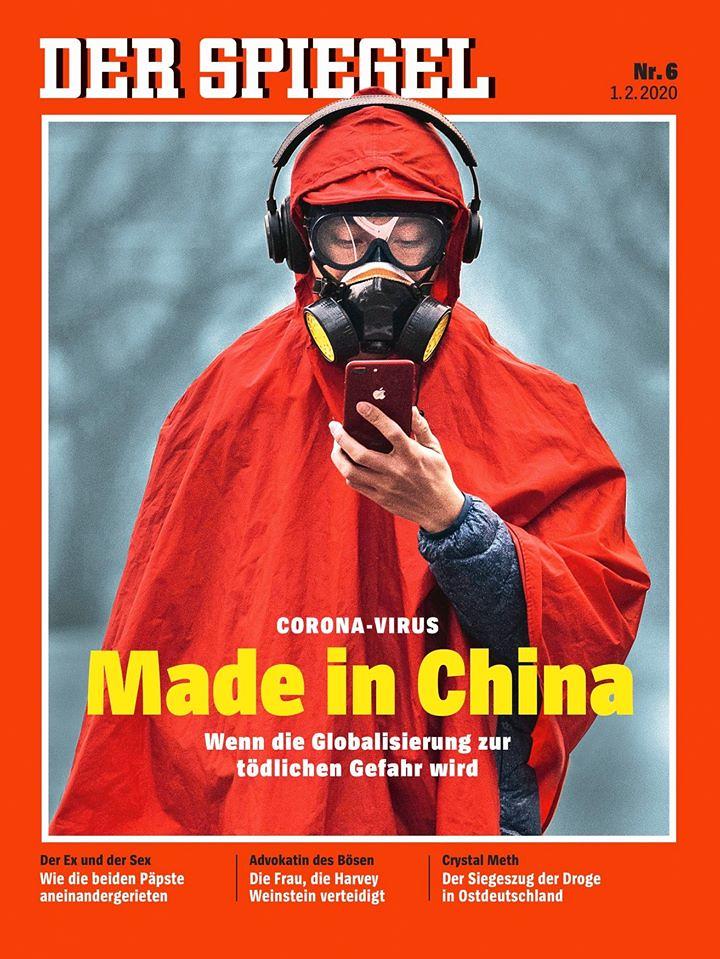 德國發行量最大的新聞週刊《明鏡》(Der Spiegel)以斗大黃色字體「中國製造」形容新型冠狀病毒。(圖片來源:《明鏡》週刊推特帳號)