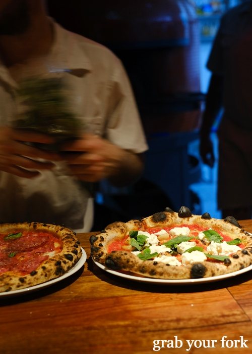 Woodfired sourdough pizzas at Dimitri's Pizzeria on Oxford Street in Darlinghurst Sydney
