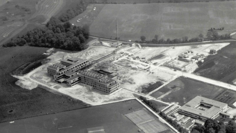 Aerial view of campus in the 1960s