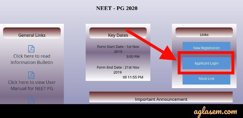 NEET PG 2020 Website