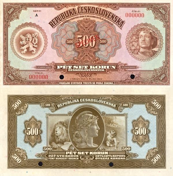 500 korún Československo 1923 anulát - REPLIKA