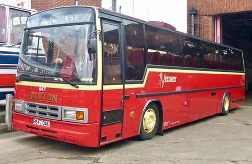 E647 DAU 'Barton Transport' No 647. DAF MB230 / Plaxton Paramount Mk.4 on Dennis Basford's railsroadsrunways.blogspot.co.uk'