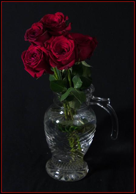 Low Key Rose Bouquet in Vase