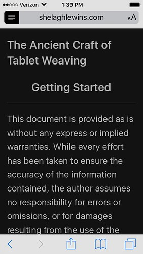 tablet weaving webpage displayed in reader mode in safari on old iphone 5c