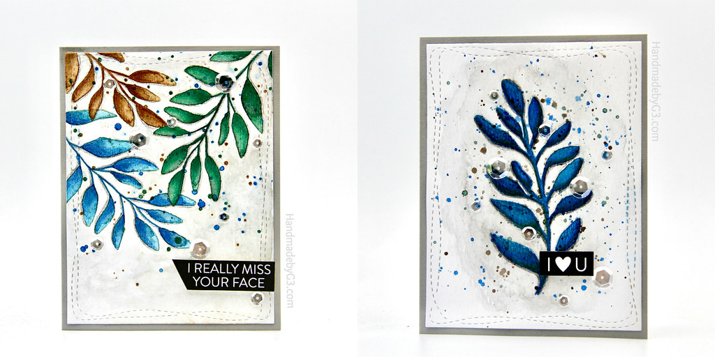 Foliage card set collage