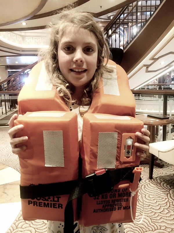 DB tries on her lifejacket in case the Titanic sinks.