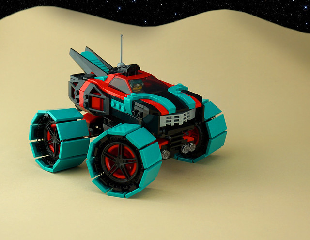 Brightly coloured LEGO moon rover