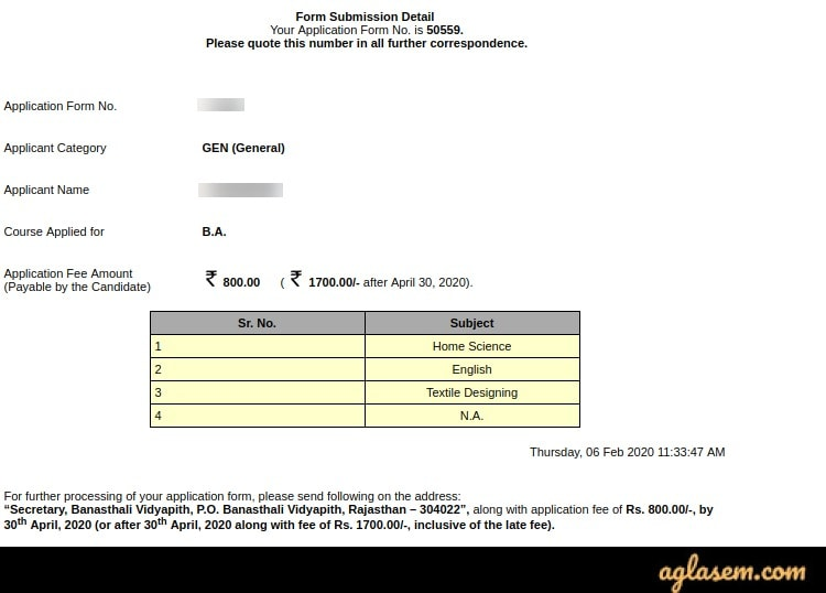 Banasthali Vidyapith 2020 application fee