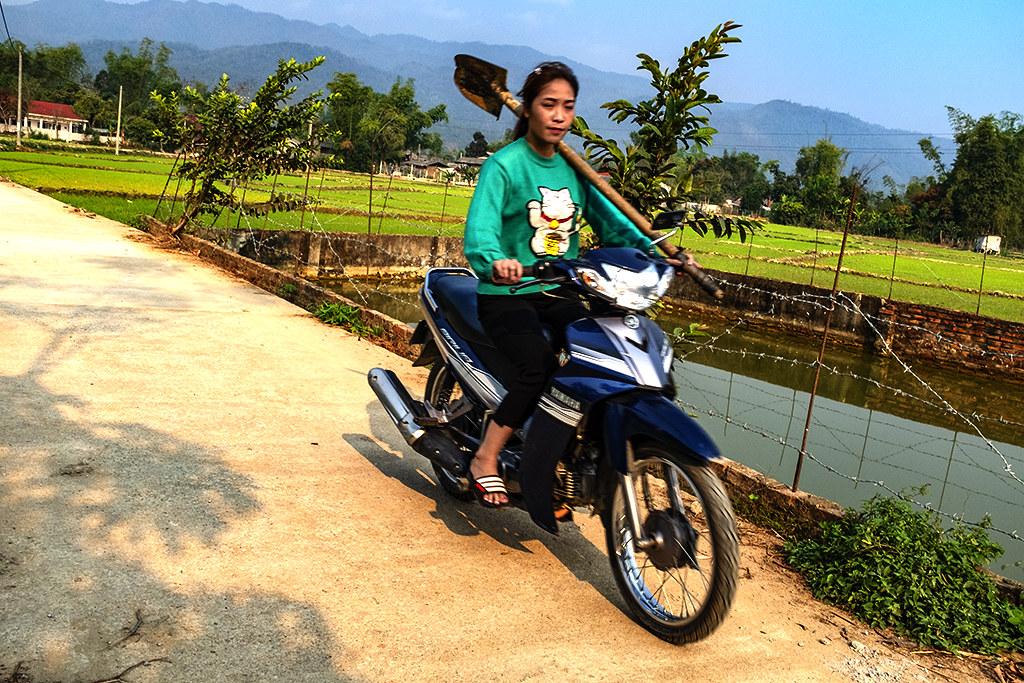 Shovel carrying woman on motorbike--Ban Banh