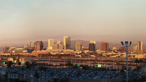 photomerge cc2019 phoenix arizona skyline skyharborairport phx terminal3parkinggaragelevel8 topfloor view downtown