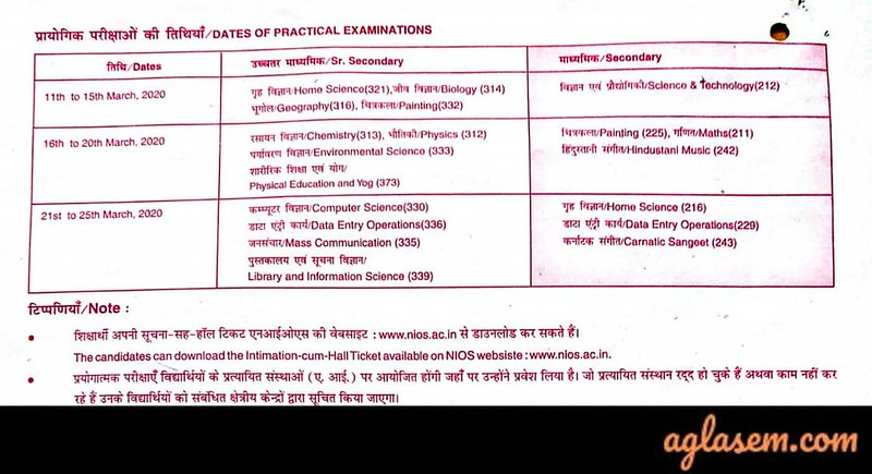 NIOS Date Sheet 2020 10th Class March - April