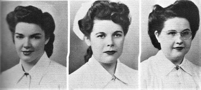 Big hair in 1945 with nurse graduates  at Holy Cross Hospital School of Nursing in Salt Lake City, Utah