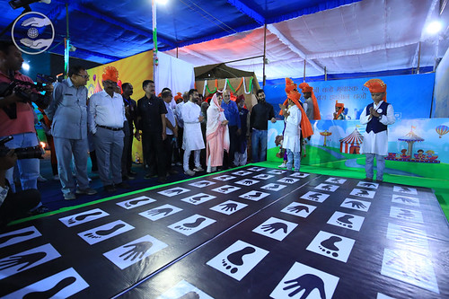 Mata Ji taking a round in Kids Exhibition