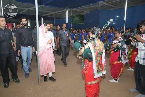 Welcome by devotees at the Exhibition