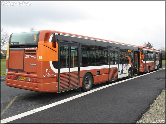 Irisbus Citélis 12 – Setram (Société d'Économie Mixte des TRansports en commun de l'Agglomération Mancelle) n°115 & Renault R 312 – Setram (Société d'Économie Mixte des TRansports en commun de l'Agglomération Mancelle) n°448