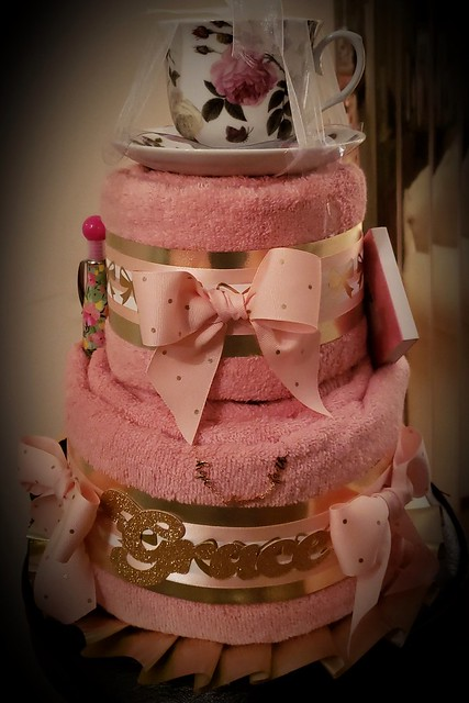 2 tier towel cake