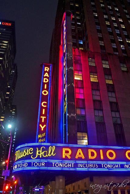 Radio City Music Hall at Night Rockefeller Center RCMH 6th Ave Avenue of the Americas 50th Street Midtown Manhattan New York City NY P00429 DSC_9373