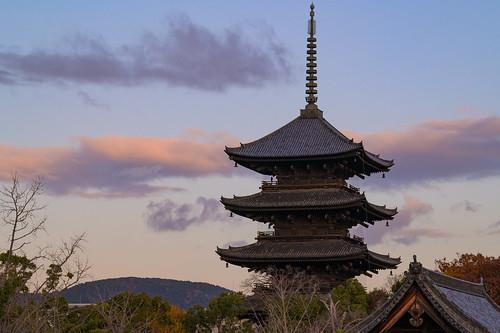 京都市 京都府 夕景 sunset japan kyoto 東寺 寺院 temple 世界遺産 worldheritage
