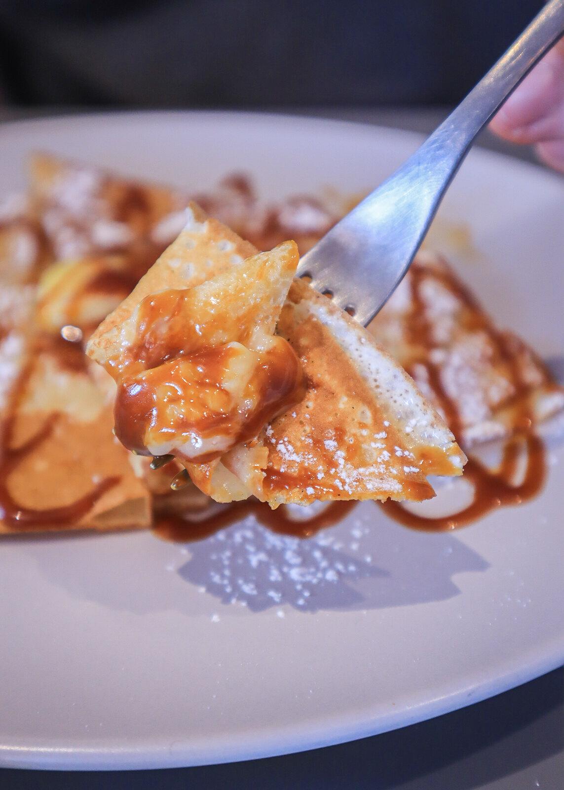 gather off the burnt caramel crepe fork
