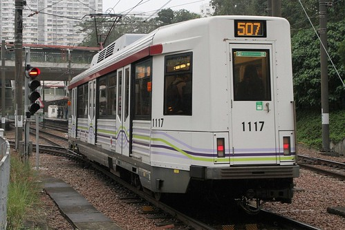 Phase IV LRV 1117 on route 507 arrive at Town Centre stop