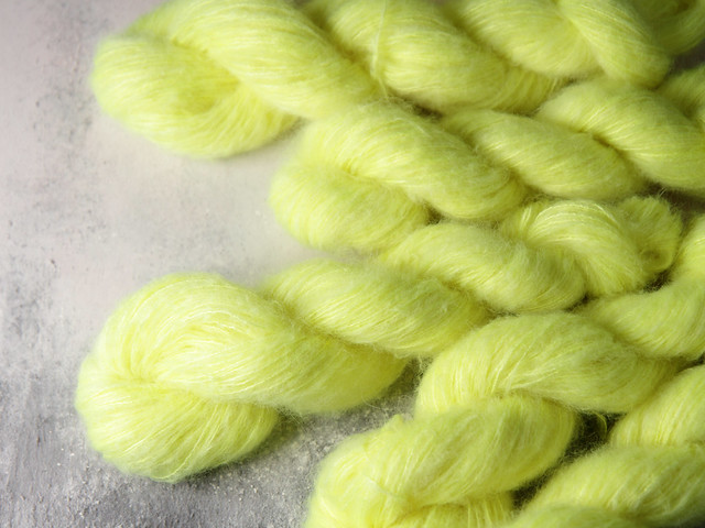 Fuzzy Lace – Brushed Baby Suri Alpaca & Silk hand dyed yarn 25g – 'Limoncello'
