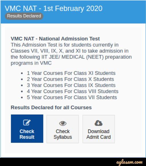 Vidyamandir Classes National Admission Test 2020 Result