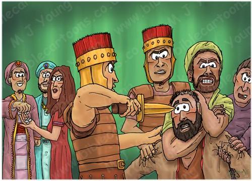Judges 16 - Samson and Delilah - Scene 09 - Samson subdued